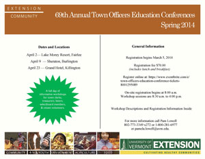 cover of town officers education conferences brochure