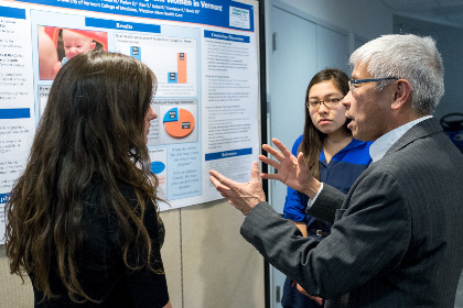 Second-year UVM medical students discuss their Public Health Project with Vermont Commissioner of Health Harry Chen, M.D.