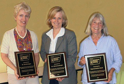 (Left to right) American Cancer Society award winners Claire Verschraegen, M.D., UVM professor of medicine, chief of hematology and oncology and co-director of the Vermont Cancer Center; Kathryn Schwarzenberger, M.D., University of Vermont professor of medicine and chief of dermatology; and Vermont State Representative Janet Ancel.
