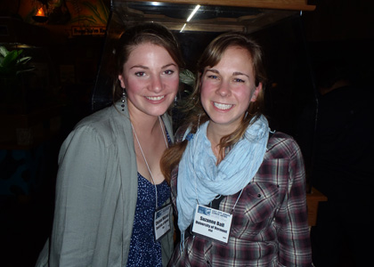 From left, Chelsea Mitchell (UVM '13) and Suzanne Ball (WFB '13) at ASLO conference.