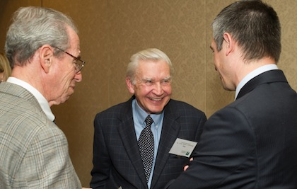 Ray Anton, M.D.'70, center, Marvin Neirenberg, M.D.'60, left, and Shane Jacobson, right