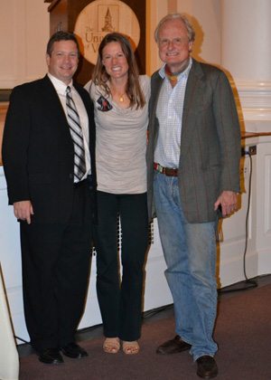 Left to right: Rubenstein School Interim Dean Jon Erickson; Elephant Acitivist in Vermont Ashley Prout McAvey; and Writer, Producer and Director of <em>Battle for the </em>Elephants John Heminway