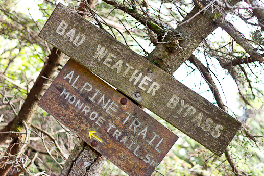 Bad weather bypass trail sign