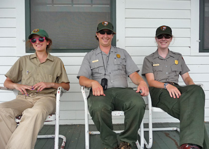 Bonnie Ricord (far right) with fellow rangers at Sleeping Bear Dunes National Lakeshore in Michigan