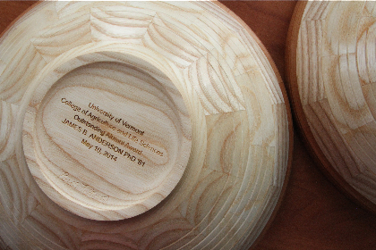 bottom of inscribed maple bowl