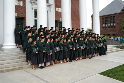 College of Medicine graduates outside Ira Allen Chapel