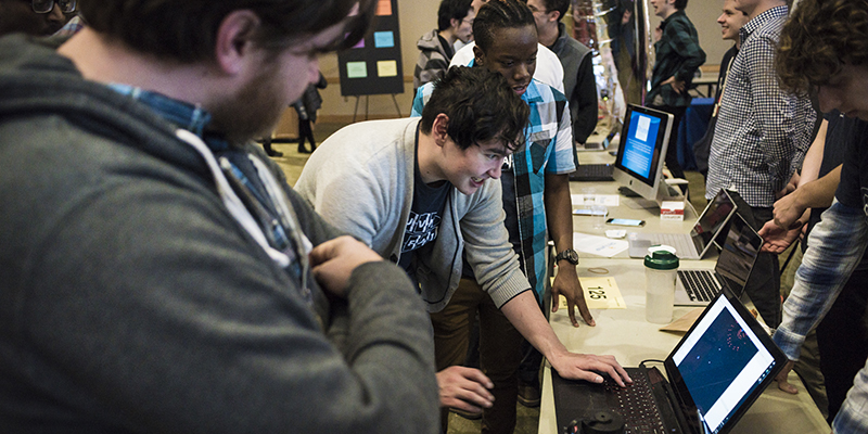 Students at Computer Science Fair, UVM 2017