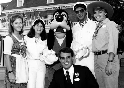 Cathy Colton Dunlap (second from left) with her UVM Disney Cast Members of Fall 1985