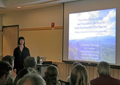 Master's student Christine Peterson presents her research at the Graduate Research Symposium.