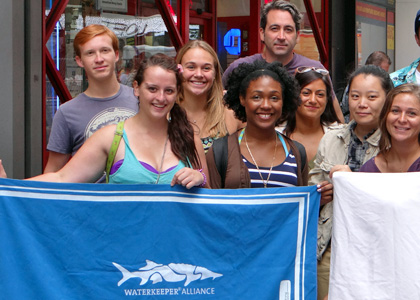 Cleopatra Doley (front center) interned with Waterkeeper Alliance in New York City.