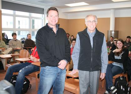 Alum Scott Hutchins visits Lecturer Dave Kaufman's class