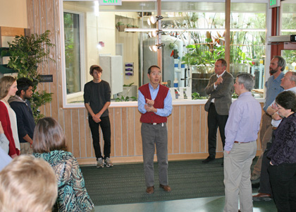 Associate Professor Deane Wang and Honors College students present a prototype green wall to RSENR Board of Advisers, faculty, and staff.