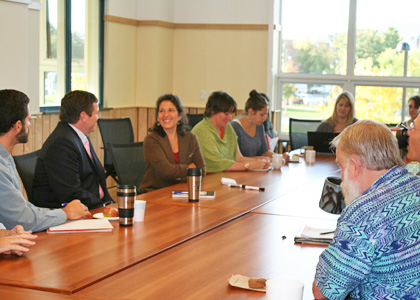 Deb Markowitz (center), Secretary of the Vermont Agency of Natural Resources, meets with the Rubenstein School community.