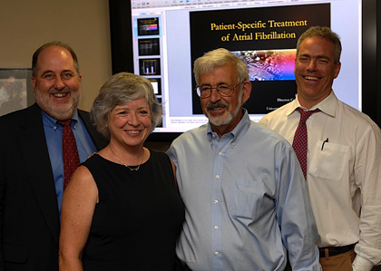 (From left) UVM Professor of Medicine and Director of Cardiology at Fletcher Allen Health Care David Schneider, M.D., donors Mary Evslin and Tom Evslin, and UVM Professor of Medicine and Director of Cardiac Electrophysiology Peter Spector, M.D.