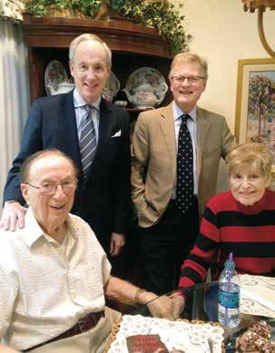 Robert Larner, M.D.'42, and his wife, Helen, in their home in suburban Los Angeles with UVM President Tom Sullivan and Dean Rick Morin. Dr. Larner practiced internal medicine in the San Fernando Valley for more than 40 years