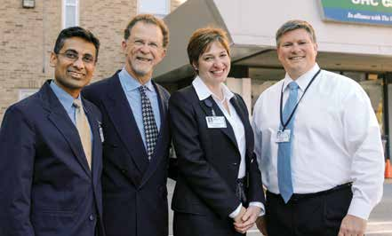 From left: Sanchit Maruti, M.D., William Cats-Baril, Ph.D., Isabelle Desjardins, M.D., and Robert Althoff, M.D., worked together on the creation of a suicide risk assessment tool for hospitals.