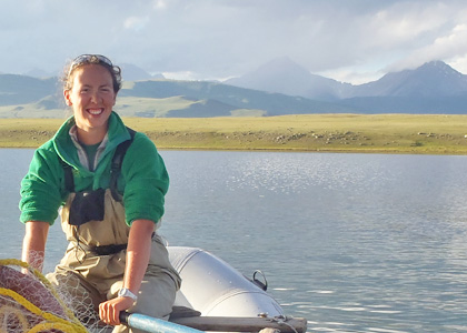 Intern Frances Iannucci: Setting horizontal gill nets for fish population assessment in Lake Hovsgol in Mongolia.