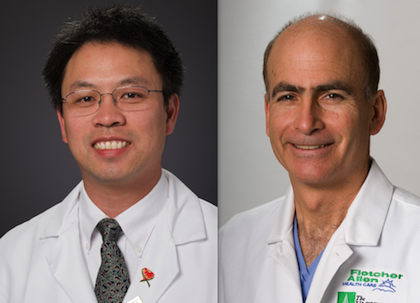 Mark Fung, M.D., Ph.D., Associate Professor of Pathology (left), and William Paganelli, M.D., Ph.D., Associate Professor of Anesthesiology