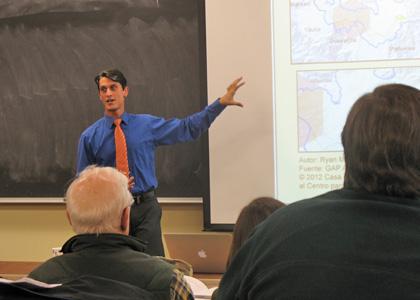 Graduate student Ryan Morra discusses his place-based landscape analysis of Adjuntas, Puerto Rico.