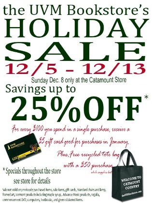 UVM Bookstore's Holiday Sale