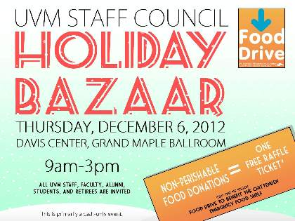 Holiday Bazaar and Food Drive: Thursday, December 6, 2012