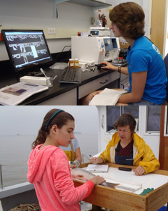 "Top: Second-year student Jessica Mailhot, a summer intern, received training on FlowCAM.  Bottom: A High school student works with Professor Ellen Marsden to measure lake trout length and weight onboard the Research Vessel Melosira during the ""Junior Scientist Program."""