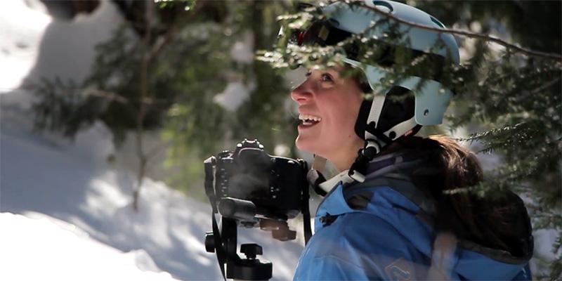 Isabelle La Motte filming on the ski slope.