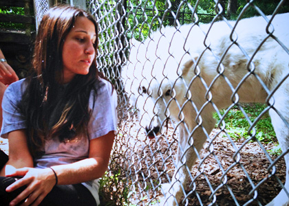Rubenstein School undergraduate student Jackie Pagano at the Wolf Conservation Center in South Salem, NY