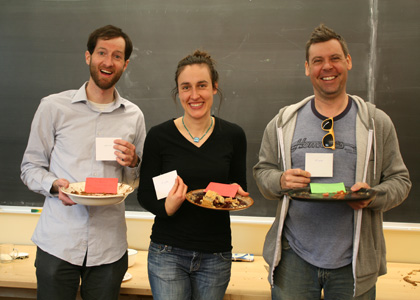 Winners of the RGSA Annual Com-PIE-tition from left: Jeff O'Donnell, Laura Yayac, and Tyler Goeschel. Maddy Morgan missing.