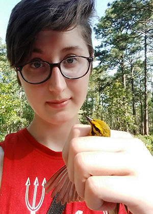 Rubenstein School undergraduate student Jessica Mailhot will use funding from her Ian A. Worley Award to combine her passion as an environmental scientist with her talent as an artist to model and express songbird abilities to adapt to climate change.