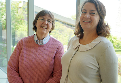 Diane Jaworski, Ph.D., Professor of Neurological Sciences (left), and Rebecca Wilcox, M.D., Assistant Professor of Pathology (right)
