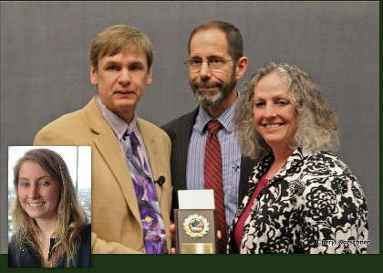 Parents holding award with professor, inset of student.