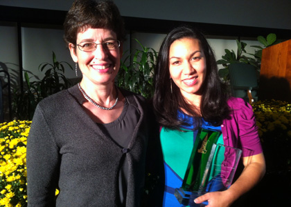 Kesha Ram (right) and her mentor and advisor Associate Professor Clare Ginger. Photo by Jon Erickson