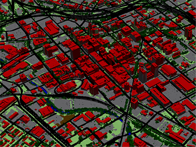 A land-cover map developed by the Spatial Analysis Laboratory (SAL) using satellite imagery and other high-resolution inputs.  This type of map facilitates study of tree canopy and its relationship to the built environment, helping guide long-term monitoring and efforts to maintain and improve a community's green infrastructure.