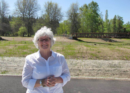 Maggie Skenderian at the restored Foster Floodplain in Portland, Oregon