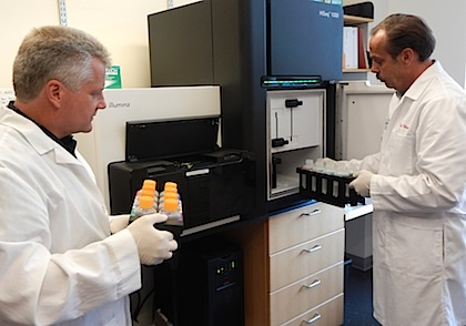 Scott Tighe and Timothy Hunter in the Massively Parallel Sequencing Facility