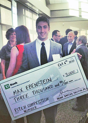 Max Ebenstein wins Business Pitch Competition sponsored by UVM's School of Business