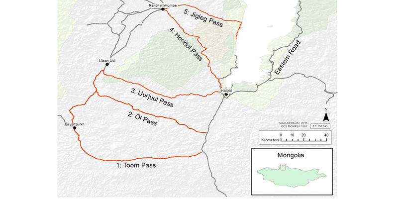 Mongolia Mountain Pass Map