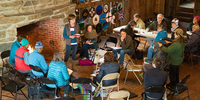 Rubenstein School graduate student Sam Talbot (lower right) at Northern Woodlands Writers Conference.