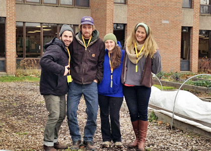 Seniors in NR 206 (left to right) Eli Friedman-Heiman, Teague Henkle, Rosie Puffer, and Emily Secor  worked at Camel's Hump Middle School and Richmond Elementary School's garden this past semester for their capstone service-learning project.