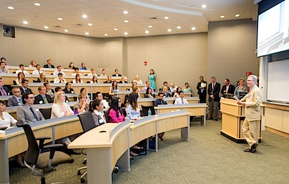 Dean Morin addresses incoming medical students at a past UVM College of Medicine Orientation