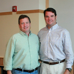 Patrick Berry (right), Commissioner of the Vermont Department of Fish & Wildlife, with Interim Dean Jon Erickson during a visit with the Rubenstein School community