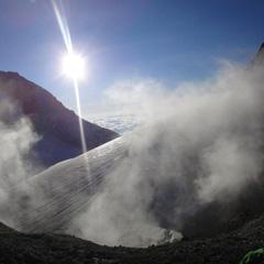 Mount Baker's active volcanic crater in Washington