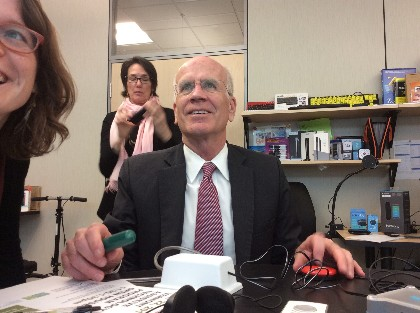 Congressman Peter Welch's selfie while using Assistive Technology
