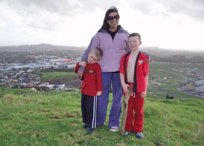 Doctoral student Poojah Kanwar and her host family in New Zealand