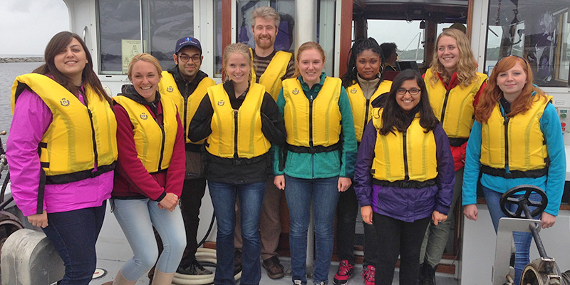 2015 REU students learn about Lake Champlain on the R/V Melosira.