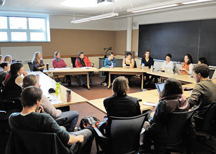 Rubenstein School graduate students participate in a Dean's Forum with Interim Dean Jon Erickson.