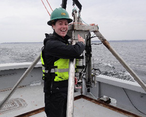 Rebecca Dillon conducts research on Lake Champlain.