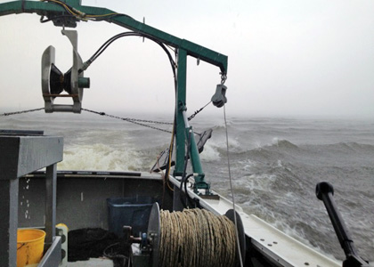 Vermont Fish and Wildlife research vessel on Lake Champlain