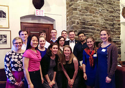 "Class of 2017 Schweitzer Fellows (from left to right), Mary Ledoux, Carl Nunziato, Jia Xin ""Jessica"" Huang, Laura Leonard, Alejandro Velez, Amy Schumer, William ""Billy"" Thompson (Class of 2016 Schweitzer Fellow), Leah Cipri, Christopher Mayhew, Sarah Johnson (Class of 2016 Schweitzer Fellow), Matthew Shear, Syed ""Samin"" Shehab, Erin Pichiotino, and Advisor Molly Rideout, M.D., Assistant Professor of Pediatrics"